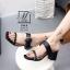 พร้อมส่ง รองเท้าส้นตันเปิดส้นสีดำ สายคาด2ระดับ แต่งเข็มขัดโลหะ แฟชั่นเกาหลี [สีดำ ] thumbnail 3