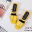 พร้อมส่ง รองเท้าส้นเตี้ยรัดส้นสีเหลือง วัสดุพียู ส้นไม้ แฟชั่นเกาหลี [สีเหลือง ] thumbnail 3