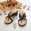 พร้อมส่ง รองเท้าส้นตันสีดำ แบบคีบ เก็บเท้า match ง่ายกับทุกชุด แฟชั่นเกาหลี [สีดำ ] thumbnail 3