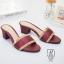 พร้อมส่ง รองเท้าส้นตันเปิดส้นสีแดง style แบรนด์ valentino แฟชั่นเกาหลี [สีแดง ]