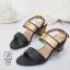 พร้อมส่ง รองเท้าส้นตันรัดส้นสีดำ สายคาดสองระดับ แต่งอะไหล่สีทอง แฟชั่นเกาหลี [สีดำ ] thumbnail 2