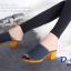 พร้อมส่ง รองเท้าส้นตันเปิดส้นสีน้ำเงิน ผ้ายีนส์แต่งชายลุ่ย แฟชั่นเกาหลี [สีน้ำเงิน ] thumbnail 4