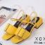 พร้อมส่ง รองเท้าส้นเตี้ยรัดส้นสีเหลือง วัสดุพียู ส้นไม้ แฟชั่นเกาหลี [สีเหลือง ] thumbnail 5