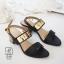 พร้อมส่ง รองเท้าส้นตันรัดส้นสีดำ สายคาดสองระดับ แต่งอะไหล่สีทอง แฟชั่นเกาหลี [สีดำ ] thumbnail 4