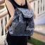 กระเป๋าเป้ผู้หญิง กระเป๋าสะพายหลังแฟชั่น เป้เพชร [สีเทา] thumbnail 2