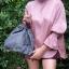 กระเป๋าสะพายแฟชั่น กระเป๋าสะพายข้างผู้หญิง อัดพีทห่วง [สีเทา] thumbnail 2