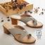 พร้อมส่ง รองเท้าส้นตันสีเทา แบบคีบ เก็บเท้า match ง่ายกับทุกชุด แฟชั่นเกาหลี [สีเทา ] thumbnail 3