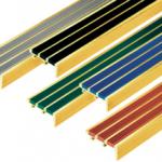 """จมูกบันไดทองเหลืองมียางพีวีซีกันลื่น3เส้น กว้าง2""""BR3"""
