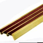 """จมูกบันไดทองเหลืองอัดแร่กากเพชรกันลื่น3แถบ กว้าง2"""" BST3"""