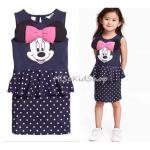 1220 H&M Minnie Dress - Navy Blue ขนาด 2-4,4-6,6-8,8-10,10-12,12-14 ปี