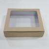 กล่องขนม กล่องเค้กโบราณ 25x19x6 ซม.กล่องทาร์ตไข่ คราฟท์หน้าขาวหลังน้ำตาล (20 ใบต่อแพ็ค)