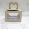 กล่องคุ๊กกี้หูหิ้ว 18 x 14 x 10 ซม.กล่องขนม กล่องคัพเค้ก กล่องเค้ก กล่องเบเกอรี่ สีคราฟท์หน้าขาวหลังน้ำตาล แบบหน้าต่าง 2 ด้าน