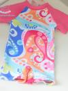 ชุดว่ายน้ำbodysuitเด็กเล็กผู้หญิง แขนสั้นขาสั้นสีชมพู ซิปหลัง พร้อมหมวกเข้าชุด
