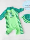 ชุดว่ายน้ำเด็กผู้ชาย บอดี้สูท ลายไดโนเสาร์ สีเขียว แขนยาว พร้อมหมวก