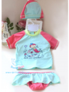 ชุดว่ายน้ำเด็กเล็กผู้หญิงสีฟ้าชมพู เสื้อแขนสั้น กางเกงคลุมระบาย พร้อมหมวก
