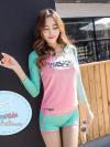 ชุดว่ายน้ำผู้หญิง ผู้ใหญ่ แบบ sport เสื้อแขนยาว กางเกงขาสั้น 1 set มี 3 ชิ้น มีให้เลือก 2 สี --->เขียวมิ้น /ฟ้า