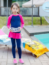 ชุดว่ายน้ำเด็กผู้หญิง แขนยาว ขายาว แยกส่วนเสื้อ กางเกง สีชมพู น้ำเงินเข้ม