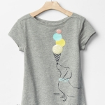 2054 GAP KIDS Short Sleeve Graphic T-Shirt - Grey ขนาด 14-16 ปี