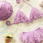 ชุดว่ายน้ำเด็ก บิกินี่ สีม่วง น่ารัก พรุ้งพริ้ง พร้อมหมวก