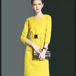 Preorder ชุดทำงาน สีเหลือง คอกลมแขนห้าส่วน แต่งเข็มขัดติดตัวเสื้อเก๋ไก๋