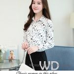 Pre-order เสื้อทำงาน สีขาว คอปก พิมพ์ลายดาวสวยสไตล์เกาหลี