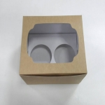 กล่องคัพเค้ก 2 ชิ้น สีคราฟท์หน้าขาวหลังน้ำตาล 15.2x13x10ซม.กล่องคัพเค้กพร้อมฐานรองคัพเค้ก (ช่องใส่คัพเค้กกว้าง 6.4ซม.) 20ใบ/แพ็ค