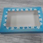 กล่องอาหารแบบไม่เคลือบกันซึม สีขาว ฝาครอบลายฟ้า size XL 23.4x16.3x6.5ซม.ราคา 285 บาท (20ใบ)