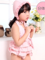 ชุดว่ายน้ำเด็ก สีชมพู น่ารัก พร้อมหมวก เสื้อมีระบายเป็นชั้นๆ