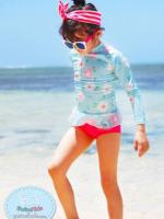 ชุดว่ายน้ำเด็กหญิงแขนยาวสีฟ้าอ่อน ลายดอกไม้ มีระบายบริเวณชายเสื้อ กางเกงสีชมพู
