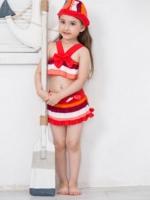 ชุดว่ายน้ำเด็กผู้หญิง ทูพีช สีแดง พร้อมหมวก