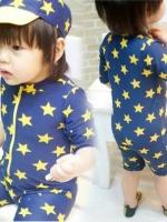 ชุดว่ายน้ำเด็กชาย บอดี้สูทซิปหน้า สีน้ำเงินเข้ม ลายดาวสีเหลือง พร้อมหมวก