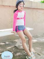 ชุดว่ายน้ำเด็กหญิงเสื้อแขนยาวสีชมพู - ขาว กางเกงขาสั้นสีเทา