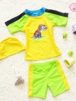 ชุดว่ายน้ำเด็กชาย ลายไดโนเสาร์ สีเขียว เหลือง