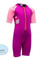 ชุดว่ายน้ำเด็กควบคุมอุณหภูมิ ป้องกันความหนาว / ป้องกันรังสี UV ผลิตจากผ้า Neoprene หนา 2 mm. มี 2 สี---> สีชมพู/สีฟ้า