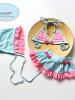 ชุดว่ายน้ำเด็กผู้หญิงทูพีช สีฟ้าชมพู พร้อมหมวก