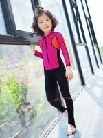 ชุดว่ายน้ำบอดี้สูทเด็กผู้หญิงแขนยาวขายาว ซิปหน้า สีชมพูเข้ม