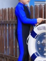 ชุดว่ายน้ำบอดีสูท เด็กผู้ชาย แขนยาว ขายาว สีน้ำเงิน-ดำ