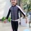 ชุดว่ายน้ำเด็กหญิง แขนยาว ขายาว สีชมพูอ่อน-ดำ (เสื้อซิปหน้า) thumbnail 1