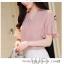 Pre-order เสื้อทำงาน สีชมพู คอวีแต่งมุกช่วงอก แขนระบาย thumbnail 3