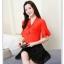 Preorder เสื้อทำงาน สีแดง คอผูกโบว์ แขนแต่งระบายสองชั้นสวยหรู thumbnail 1