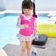 ชุดว่ายน้ำเด็กผู้หญิง สีชมพูขาวลายดอกไม้ เสื้อแขนยาว กางเกงมีระบาย พร้อมหมวกเข้าชุด thumbnail 3