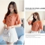 Preorder เสื้อทำงาน สีส้ม คอผูกโบว์ แขนแต่งระบายสองชั้นสวยหรู thumbnail 4