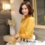 Preorder เสื้อทำงาน สีเหลืองขมิ้น คอตั้ง แขนแต่งระบายสวย จับจีบด้านหน้าสวยงาม thumbnail 1