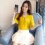 Preorder เสื้อทำงาน สีเหลืองขมิ้น คอผูกโบว์ แขนแต่งระบายสองชั้นสวยหรู thumbnail 2