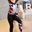 ชุดว่ายน้ำเด็กผู้หญิง bodysuit แขนยาว ขายาว สีขาวดำ ลายดอกไม้สีชมพู ซิปหน้า thumbnail 3