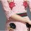 Preorder ชุดทำงาน สีชมพู คอกลมแขนห้าส่วน คาดเอวเก๋ไก๋ เนื้อผ้าลูกไม้ปักลายดอกไม้สวยหวาน thumbnail 7