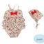 ชุดว่ายน้ำเด็กผู้หญิงวันพีช พื้นสีครีม ลายดอกไม้ หร้อมหมวก thumbnail 3