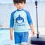 ชุดว่ายน้ำเด็กชาย ลาย My Treasure เสื้อแขน 3 ส่วน กางเกงขาสั้นสีฟ้า-น้ำเงิน (เอวกางเกงมีเชือกผูก ปรับได้) พร้อมหมวก thumbnail 3