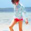 ชุดว่ายน้ำเด็กหญิงแขนยาวสีฟ้าอ่อน ลายดอกไม้ มีระบายบริเวณชายเสื้อ กางเกงสีชมพู thumbnail 1
