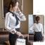 Pre-order เสื้อทำงาน สีขาว ลายกราฟฟิคเดินเส้นสีดำเรียหรู thumbnail 9